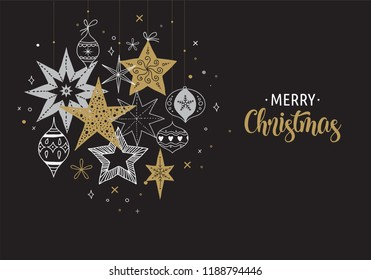 Elegant Merry Christmas background, banner and greeting card, collection of snowflakes, stars, Xmas decorations, hand drawn illustration