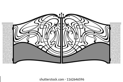 Elegant metal gate in art nouveau style. Vector drawing of art forged product. Architecture detail.