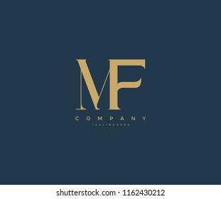 Elegant MF Letter Linked Monogram Logo Design
