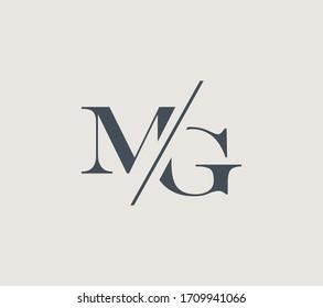 Elegant MG Initial logo. The monogram logo letter MG is sliced. Vector sign design.