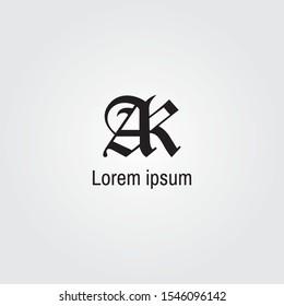 Elegant minimal letter a symbol. Alphabet A and K logo design. Vector illustration.
