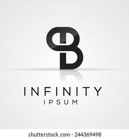Elegant minimal letter symbol. Alphabet P and B logo design. Vector illustration.