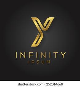 Elegant minimal letter symbol. Alphabet Y logo design. Vector illustration.