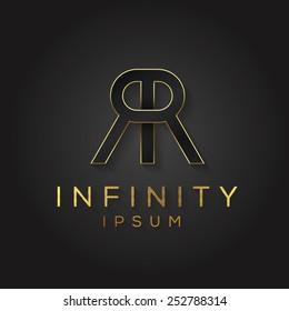 Elegant minimal letter symbol. Alphabet double R logo design. Vector illustration.
