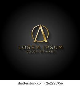 Elegant minimal letter symbol. Alphabet A logo design. Vector illustration.