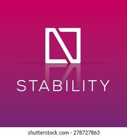 Elegant minimal letter symbol. Alphabet N logo design. Vector illustration.