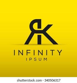 Elegant minimal letter symbol. Alphabet R and K logo design. Vector illustration.