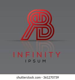 Elegant minimal letter symbol. Alphabet R and B combination logo design. Vector illustration.