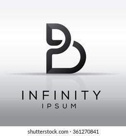 Elegant minimal letter symbol. Alphabet letter B logo design. Vector illustration.