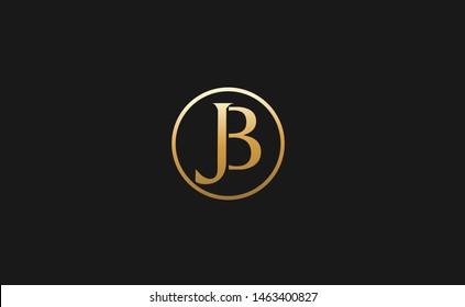 Elegant minimal luxurious JB, BJ initial based letter icon logo in gold color