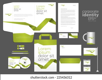Elegant minimal style corporate identity template design with green line. Vector company style.