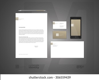 Elegant minimal style corporate identity template. Letter envelope and business card design.  Typographic symbol. Vector illustration.