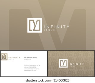 Elegant minimal style corporate identity template. Business card design. Typographic Y symbol. Vector illustration.