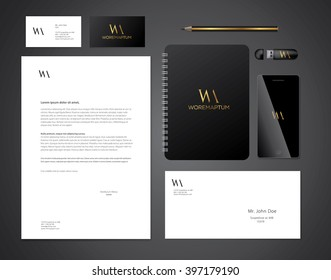 Elegant minimal style corporate identity template. Typographic letter   logo. Vector illustration.