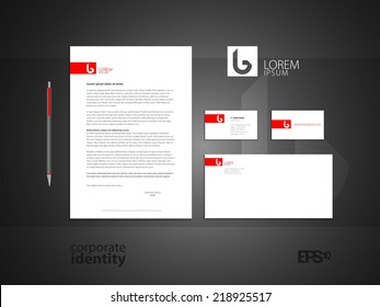 Elegant minimal style identity. Red colored corporate identity template design. Vector illustration.