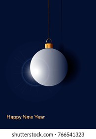 elegant minimalist christmas ball realistic vector illustration with 3d effect applicable for cards