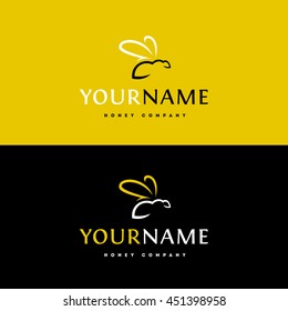 Elegant minimalist logo for honey | bee business. Silhouette image of a bee.