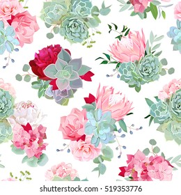 Elegant mixed bouquets of succulents, echeveria, burgundy and white peony, protea, camellia, carnation, hydrangea seamless vector design pattern. Modern stylish bunch of flowers.