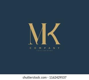 Elegant MK Letter Linked Monogram Logo Design