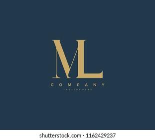 Elegant ML Letter Linked Monogram Logo Design
