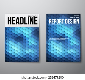 Elegant modern abstract brochure, flyer, report design, layout template with hexagonal background. Clean style cover, communication, business. corporate