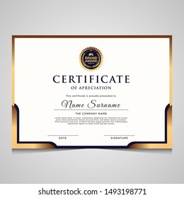 Elegant modern blue and gold diploma certificate template. Use for print, certificate, diploma, graduation