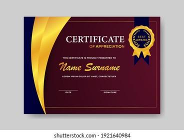 elegant and modern certificate of appreciation design template