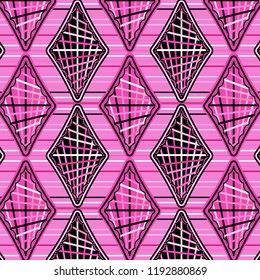 elegant modern pink repeating pattern of stripe decorated diamonds and rhombuses over horizontal stripes background.cool design for textile, fabric, backgrounds, backdrops and cheerful surface designs