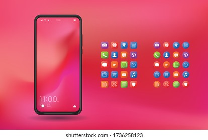 Elegant and modern smartphone with colorful icons, applications. Mobile phone isolated on background.