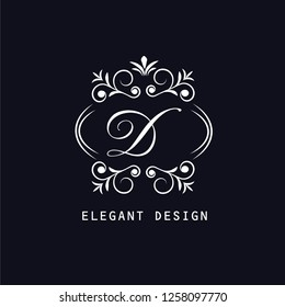 An elegant monogram design for the letter D. Calligraphic ornament. Business sign, identity monograms for restaurant, boutique, hotel, heraldry, jewelry. Vector illustration.
