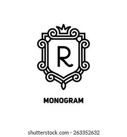 Elegant monogram design template with letter R and crown. Vector illustration.