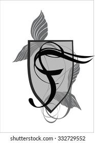Elegant monogram design template with letter F. Vector illustration.