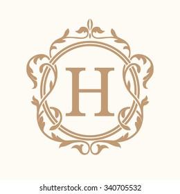Elegant monogram design template. Wedding monogram. Calligraphic floral ornament. Can be used for label and invitation design .Business sign, monogram identity for restaurant, hotel, heraldic, jewelry