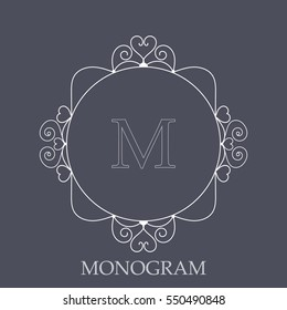 Elegant monogram with heart shapes design template for one or two letters