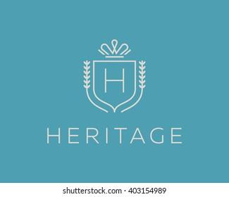 Elegant monogram letter H logotype. Premium crest logo design. Shield, royal crown symbol. Print, t-shirt design shape.