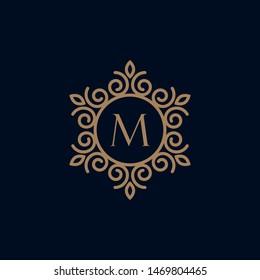 elegant monogram letter M logo design template