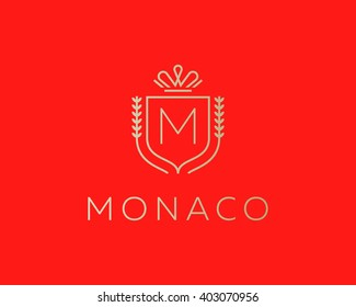 Elegant monogram letter M logotype. Premium crest logo design. Shield, royal crown symbol. Print, t-shirt design shape.
