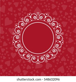 Elegant monogram template with heart shapes. Festive greeting card.