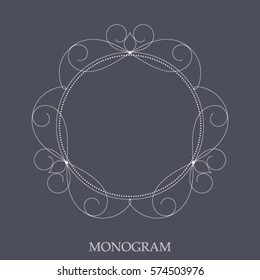 Elegant monogram template made in linear style