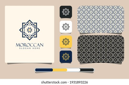 Elegant Moroccan Ornament Logo Template with Pattern. Moroccan Arabian Logo Pattern. Sacred Outline Geometric. Best identity for luxury brand, restaurants, hotels, boutiques, jewelry, and cosmetics.