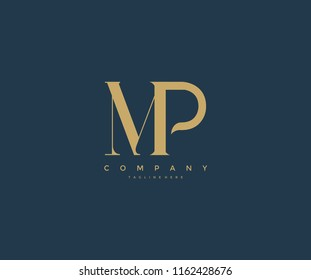 Elegant MP Letter Linked Monogram Logo Design