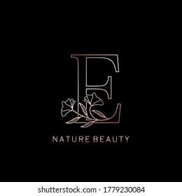 Elegant Natural Beauty Flower Outline Initial Letter E logo icon in vector ornate Flower leaf clipart template design rose gold color.