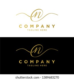 elegant NC or CN initial lettering logo template , vector file eps 10 text and color is easy to edit
