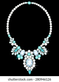 Elegant necklace with flowers from diamonds and aquamarines