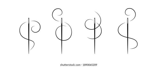 Elegant needle with thread. Vector.