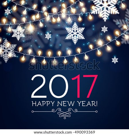 elegant new 2017 year background with light garlands and snowflakes seasonal wallpaper vector illustration