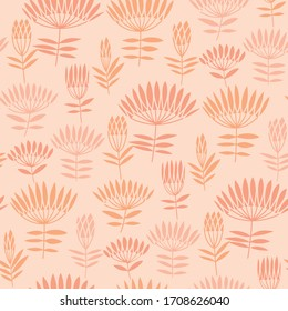 Elegant nude color abstract flower seamless pattern. Vector illustration grass floral tile motif. Silhouette rapport for textile, wallpaper, background.