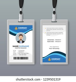 Elegant office ID card design template with blue details