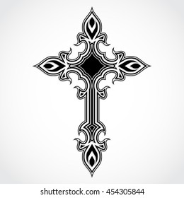 elegant ornament shape black white cross / vector illustration