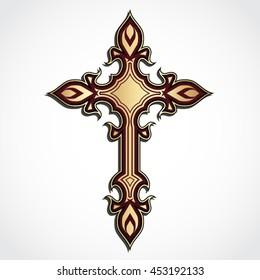 elegant ornament shape golden cross / vector illustration